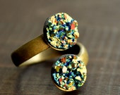 Brass Ring with Resin Druzy - Adjustable Green Druzy