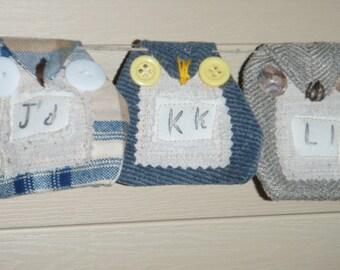 ALPHABET Banner Handmade Owls OOAK