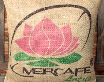 Repurposed Burlap Coffee Sack Pillow Cover