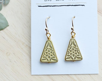 Gold Triangle Earrings Dangle Earrings Antique Floral Vintage Inspired 16k Gold  T103