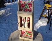 Cabinet, Curio Cabinet, Knick Knack Shelf, Farmhouse, Spice Rack, Shelf, Storage, White Red, Floral Cabinet, Artsy, Boho Furniture, Florals
