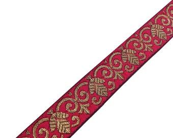 5 Yards - Victorian Pattern Jacquard Border in Hot Pink - Gold - Border / Lace / Jacquard Trim /  Sari Lace / Embellishment