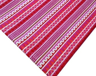 2.3 yards Pink and White Striped Soft Cotton Fabric - Block Printed Cotton Fabric -  Pink   White Printed Cotton Fabric