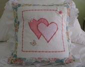 Cushion Cover/Pillow - home decor - Machine Embroidered butterfly, applique hearts, broderie anglais lace pillow cover in aqua and pinks..