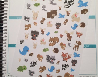 40-50% OFF SALE - Forest Friends Planner Stickers, Forest Animal Stickers, Woodland Forest Planner Sticker, set of 64