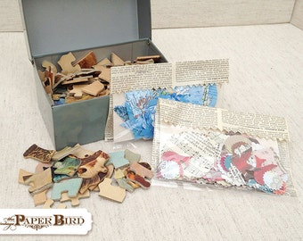 Mixed Media Supplies Metal File Box of Goodies Paper Ephemera Vintage Puzzle Pieces Die Cuts
