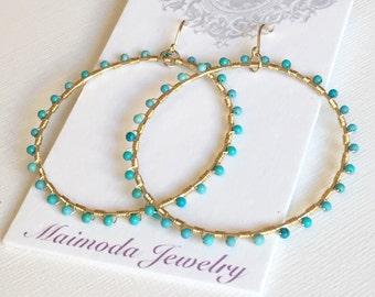 Earrings Kaya - Turquoise earrings- turquoise hoop earrings- gemstone hoop earrings - December birthstone earrings. (E16