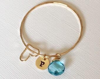 Bangle Healani  - Baby bangle - toddler bangle - keiki bangle - personalized bracelet- baby birthstone bangle- girls jewelry. (B136)
