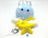 Moon and Stars baby mobile, nursery wall decor, blue and yelloe baby mobile