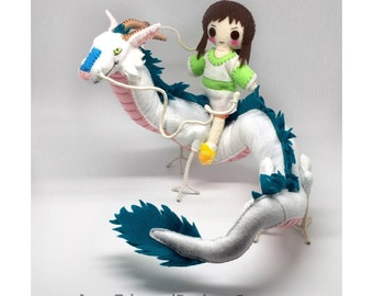Spirited Away, chihiro doll, felt Dragon, Haku, posable figurine, Haku art doll, fan art, studio ghibli, movable dragon