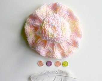 Preemie Pink Baby Hat- Yellow, Lavender- Charity Donation- Hand Knit Baby Beanie- Reversible- Free US Shipping