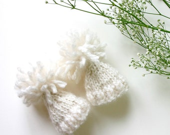 White Miniature Knitted Hats- 2 Hand Knit Caps- Doll Hats, Small Pets, Collectibles