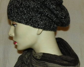 marl cashmere hat -black and charcoal