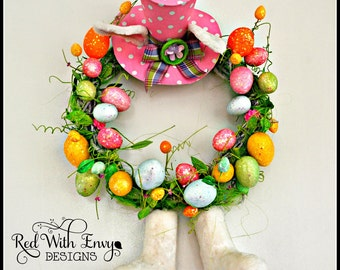 "26"" Easter Bunny Hat & Legs Wreath"