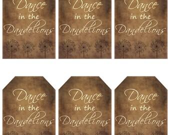 grungy tag set - Dance in the Dandelions - digital PDF & jpeg - DDGT01