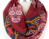 Most Sold Items, Popular items, Skull print Scarf ,Trending now items,  lightweight scarf,Gifts Guide - By PiYOYO