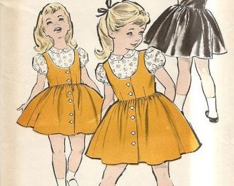 Advance 9066 Sewing Pattern Girls Size 5 Jumper Dress Blouse Full Skirt 50s Rockabilly Style Easter Dress