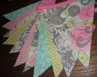 Pink Grey Aqua Banner, Fabric Banner, Bunting Banner, Photo Prop, Wedding, Baby Shower, Pink Grey Aqua Lime Green, Ready to Ship!