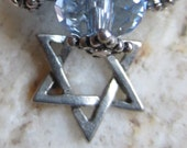Lovely Sterling Dangling Necklace with Blue Glass Crystals and Pewter Star of David Charm Judaica