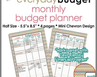 "HALF SIZE 5.5"" x 8.5"" - Monthly Budget Tracker Planner Printable Worksheet -  Mini Chevron - PB1519"