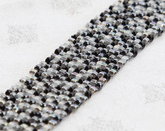 Peyote Stitch Beaded Bracelet - black and white