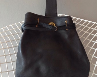 Black Natural tanned saddle leather Charles et Charlus FRANCE bag, vintage