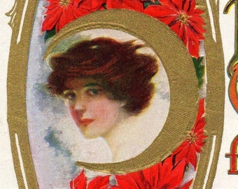 Beautiful ANTIQUE Art Nouveau USPS Christmas Greetings Postcard 1909 Traditional Red Green And Gold Lady's Portrait