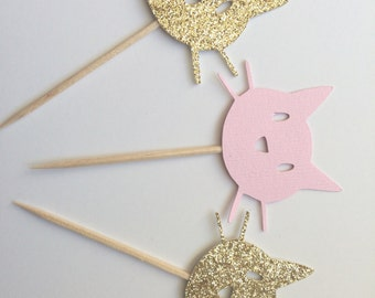 20 Gold & Pink Kitty Cat Cupcake Toppers.  Kitty Cat Party.  Cupcake Decor.  Gold Glitter Cats