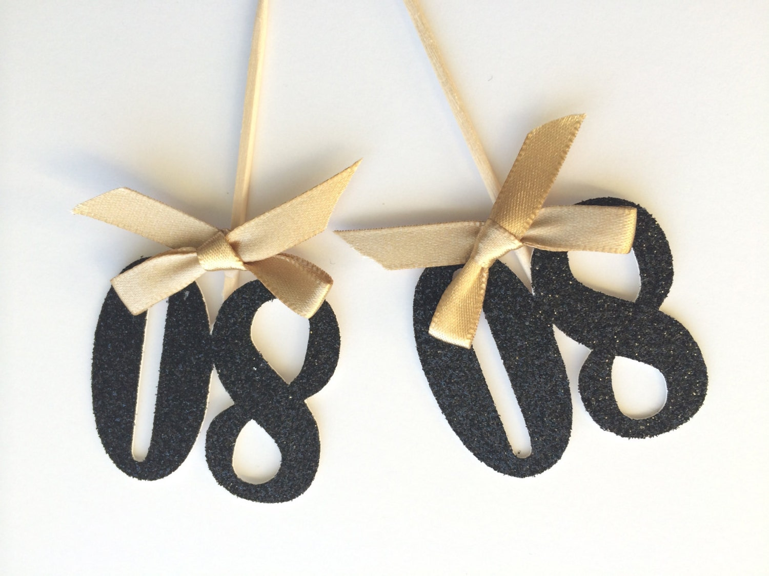 6 black glitter number cupcake topper with gold bow 80th for 80th decoration