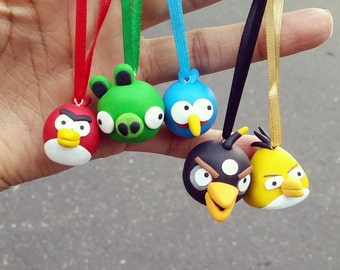 Angry birds charm set, polymer clay angry birds, angry birds ornaments