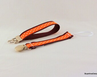University Edition - Orange and Maroon Pacifier Clip