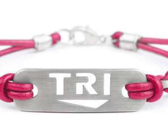 Triathlon Bracelet TRI - Pink, Black or Multi, Triathlete Motivation, TRI Bracelet, Gift for triathlete, Triathlon Gift, Swim bike run