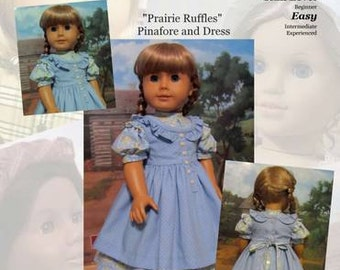 "PDF Pattern KDD03 ""Prairie Ruffles"" Pinafore & Dress- An Original KeepersDollyDuds Design, 18"" Doll Clothes"