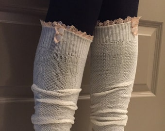 Cream Boot Socks with Lace & Buttons - Over the Knee Knit Cotton Socks