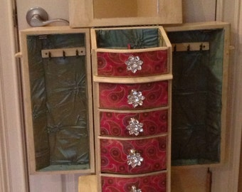 Pink Paisley Repurposed Jewelry Armoire- Custom Made To Order