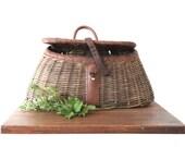 Vintage Fishing Creel - Wicker Fly Fishing Basket - Woven Cane Basket