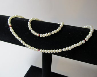 Ivory Pearls Flower girl Necklace & Bracelet Set