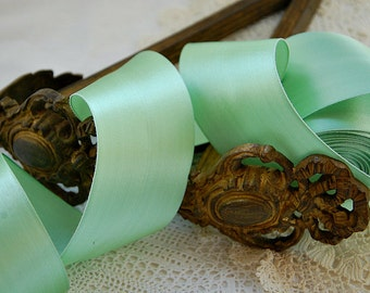 Vintage French, wide satin ribbon, French satin trim, minty light green, millinery, mixed media, fabric collages,summer projects, 3 yards