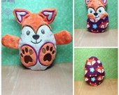 Peekaboo Fox In the Hoop Stuffed Softie - Reversible folds into an egg, ITH, IN The Hoop, Embroidery Design, Instant download
