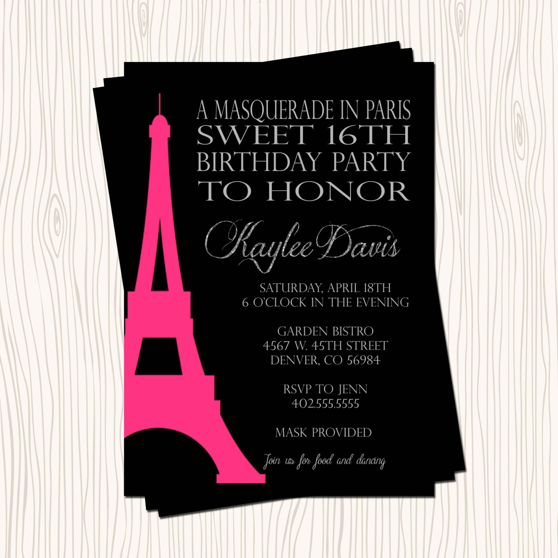 Paris Eiffel Tower Pillow 16 X 16: Masquerade In Paris Eiffel Tower Sweet 16 Sixteen Birthday