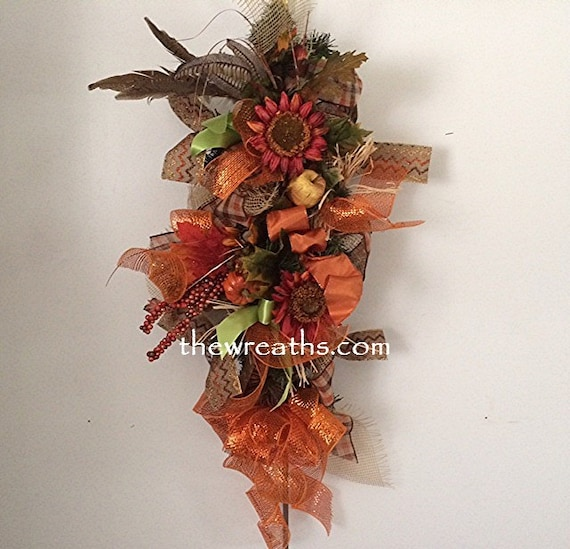 Fall Door Swags: Fall Sunflower Door Swag Autumn Door Swag Fall Door By