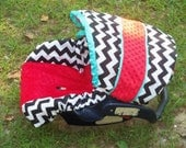 Red teal black Chevron Stripe minky baby car seat cover infant seat cover slip cover Graco fit or evenflo