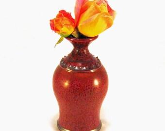 Modern Ceramic Vase - Textured Vessel - Rustic Orange Flower Urn - Retro Speckled Vase - Tomato Red Bud Vase - Orange Vase - Flower Holder