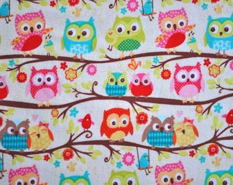 Happy Flappers knit, owls on cream