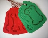 red and green dog bone gift tags, christmas dog tag, to and from tag, dog treat tags, baked goods tag, party favor, product label