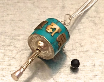 Tibetan Buddhist Prayer Wheel Necklace, Tibetan Buddhist Prayer Wheels, Nepalese Necklace, Spiritual Ring, Nepalese Jewelry,Tibetan Jewelry