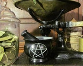 Mortar and Pestle (Pentacle): Apothecary, ritual, altar, kitchen, herbs, soapstone, flowers, tea, witchery, pentagram, kitchen witch