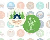 HAPPY CAMPER 1 Inch Circle Digital Collage Sheet for Pebble Magnets, Pendants and More (Instant Download No. 1775)