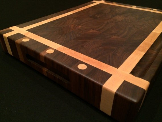 Custom size black walnut and rock maple cutting board