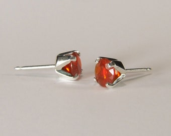 Opal (Mexican Fire Opal), 6mm x 0.60 Carat Round Cut, Sterling Silver Post Earrings